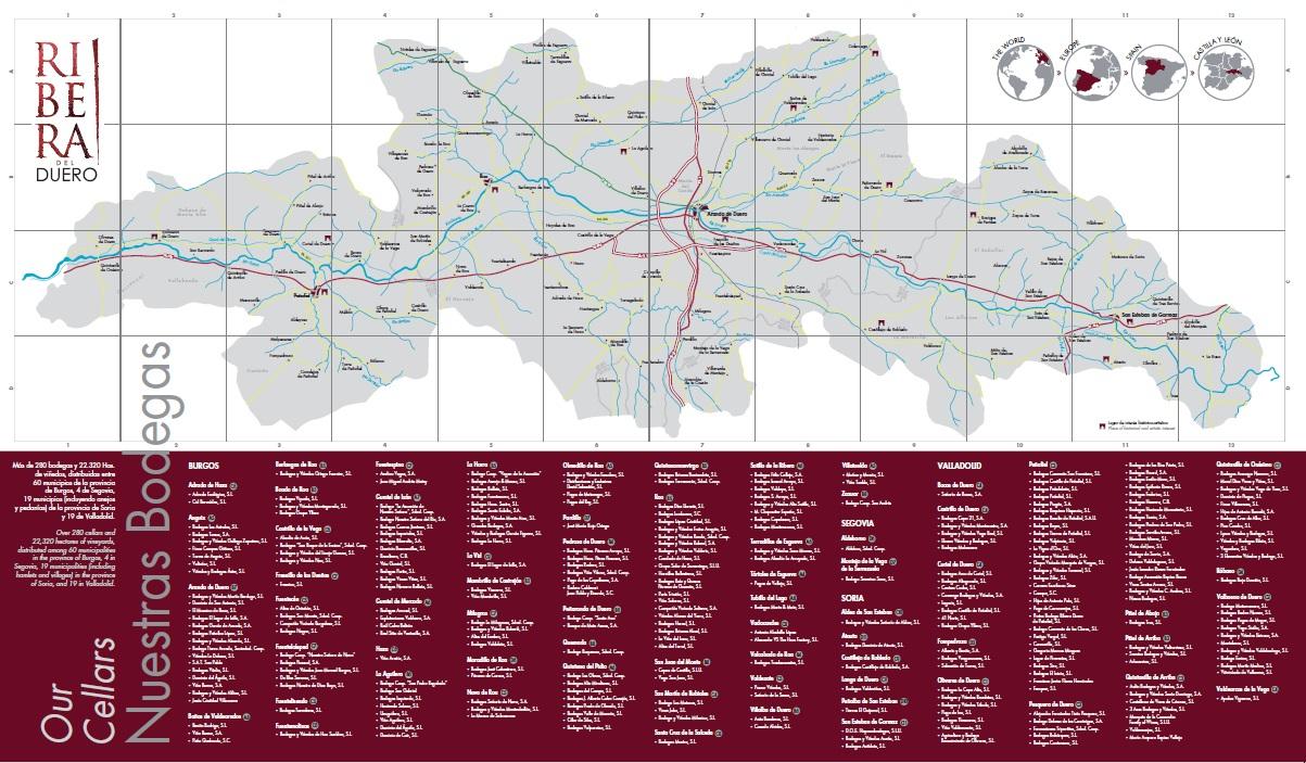 Mapa D.O. Ribera del Duero - Enero 2017